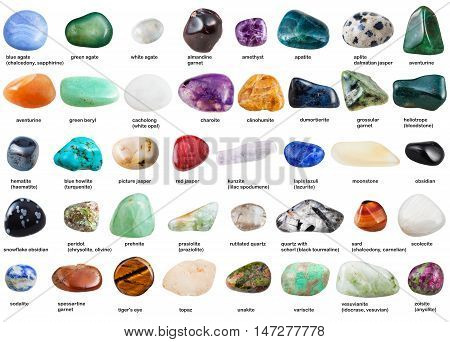 Set Of Various Tumbled Gemstones With Names