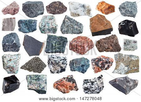 Set Of Igneous Rock Specimens