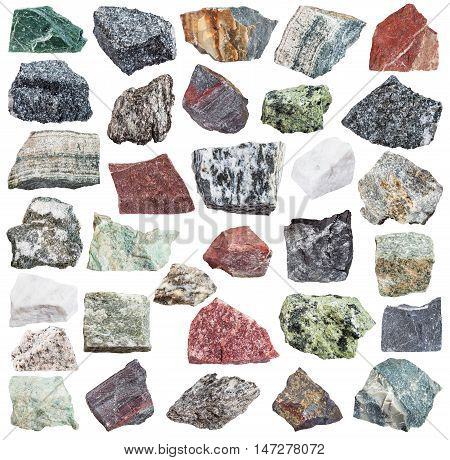 Set Of Metamorphic Rock Specimens
