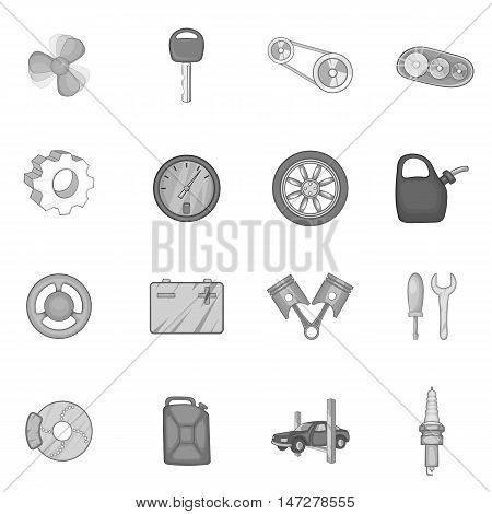 Auto spare parts icons set in black monochrome style. Car maintenance set collection vector illustration