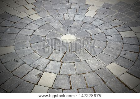 Stone roadway from granite area in Prague