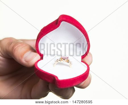 Ring In An Open Box In A Man's Hand, The Proposal - Isolate