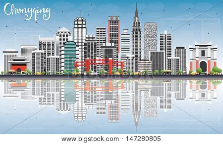 Chongqing Skyline with Gray Buildings, Blue Sky and Reflections. Vector Illustration. Business Travel and Tourism Concept with Chongqing Modern Buildings. Image for Presentation Banner Placard.