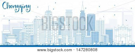 Outline Chongqing Skyline with Blue Buildings. Vector Illustration. Business Travel and Tourism Concept with Chongqing Modern Buildings. Image for Presentation Banner Placard and Web.