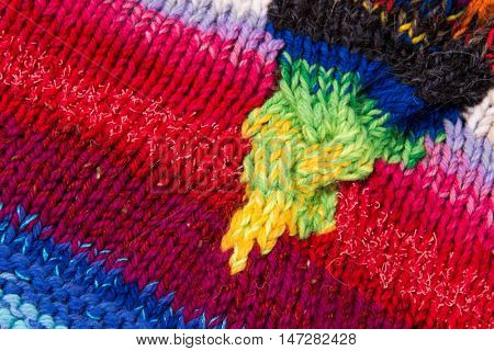 striped colorful wool texture handmade patten closeup macro blue red green yellow pink white biege purple
