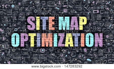 Site Map Optimization. Multicolor Inscription on Dark Brick Wall with Doodle Icons. Site Map Optimization Concept in Modern Style. Site Map Optimization Business Concept.
