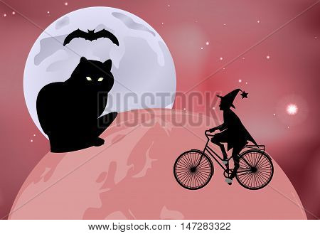 Vector Illustration Of A Large Black Cat Sitting On The Globe And The Witch Rides Around The Globe O