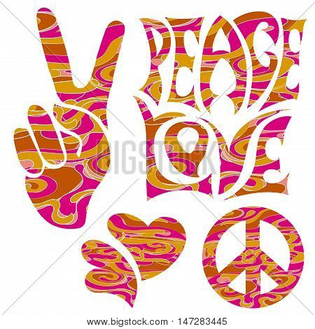 set of isolated hand drawn elements in Hippie Retro style 1960s 60s 70c Peace and Love of Pacific character two thumbs up and hearts.