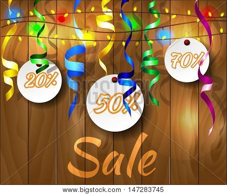 Sale banner with flashlight on wooden background . Vector illustration