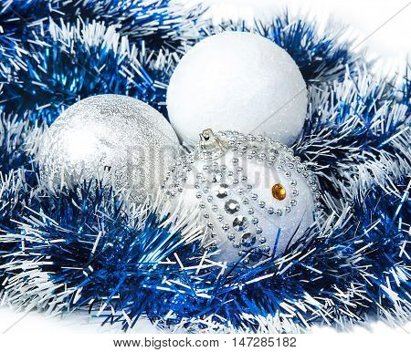 Christmas blue tinsel and white with silver glitter balls decoration