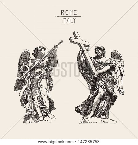 original sketch digital drawing of marble statue of two angels from the Sant'Angelo Bridge in Rome, Italy, vector illustration