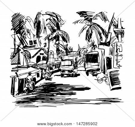original black and white digital drawing of India Goa Calangute Baga landscape street, travel sketch, touristic postcard or poster, vector illustration