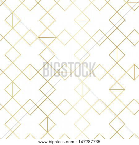 Geometric gold pattern with line rhombus. Seamless golden modern abstract geometric pattern on white background.