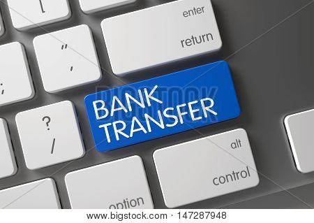 Bank Transfer Concept: Modern Laptop Keyboard with Bank Transfer, Selected Focus on Blue Enter Keypad. 3D Render.