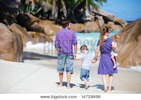 Family With Two Kids On Vacation