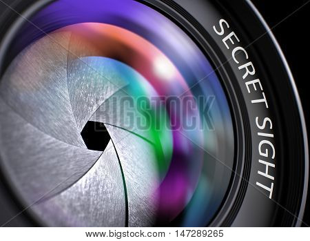 Closeup Front Glass of Camera Lens with Pink and Orange Reflection and Inscription Secret Sight. Photographic Lens with Secret Sight Concept. Secret Sight Written on a Camera Lens. 3D Render.