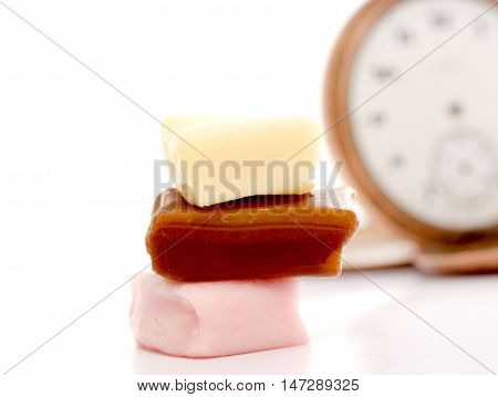 sweet different bonbon isolated on the white background