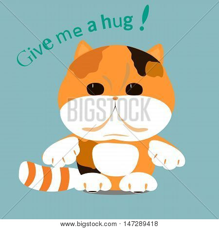 Cute cat. Vector flat illustration for print. Text ( Give me a hag!)