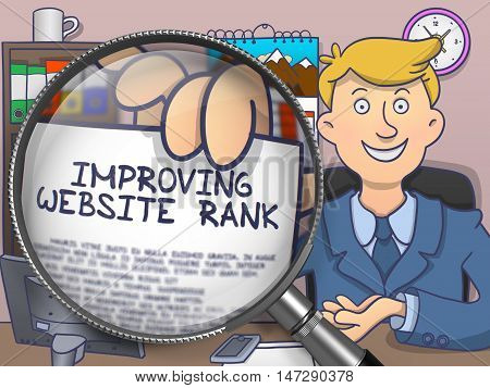Improving Website Rank on Paper in Man's Hand through Magnifying Glass to Illustrate a Business Concept. Colored Doodle Style Illustration.