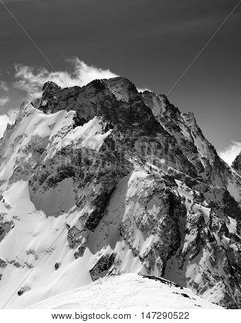 Black And White On Winter Snow Mountain