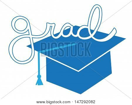 Isolated Blue Grad Graduate Cap and Tassel