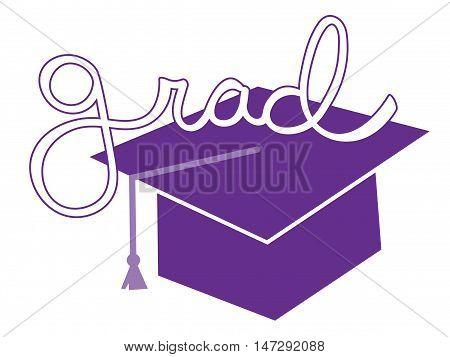 Isolated Purple Grad Graduate Cap and Tassel