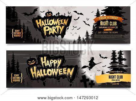 Happy Halloween. Halloween party. Two vector banners