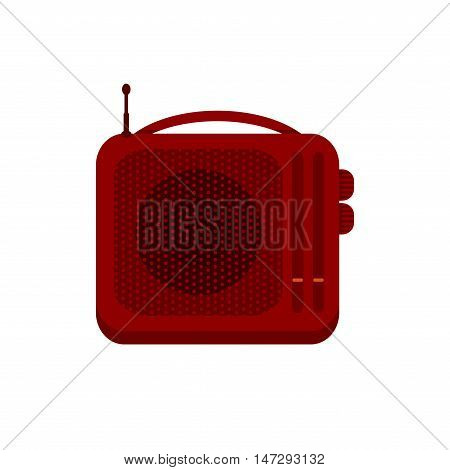Red portable handheld radio receiver icon. Music sign. Sound symbol. Vector illustration of retro radio solated on white background.