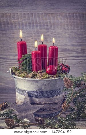 Four red christmas candles for advent