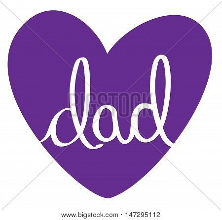 Isolated Purple Fathers Day Dad Love Heart