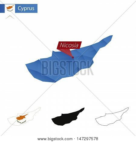 Cyprus Blue Low Poly Map With Capital Nicosia.