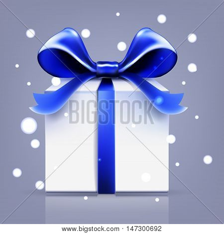 gift blue ribbon bow vector snow desember, surprise, design, party, single, new