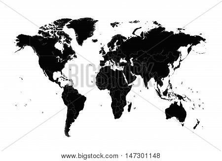 World map vector borders black vector photo bigstock world map vector with borders black color gumiabroncs Image collections