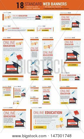 Vector template of eighteen web standard size banners on topic - Online Education, E-learning Concept. All the most common size of banners. Each on its own layer. Easily editable. See other themes