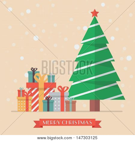 Christmas tree and piles of presents. Greeting card vector illustration