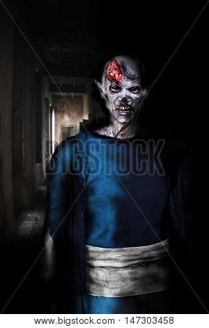zombie demon walking in horror house on Halloween
