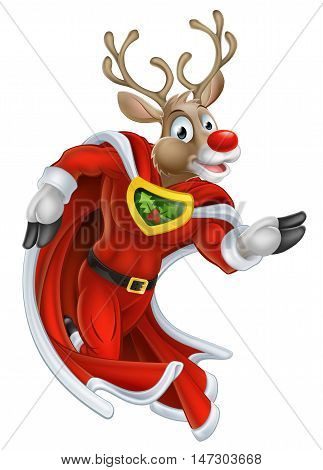 Christmas Reindeer Super Hero