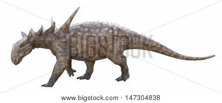 3D rendering of Sauropelta walking, isolated on white background.