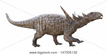 3D rendering of Sauropelta being aggressive, isolated on white background.