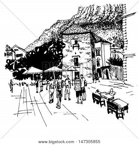 original black and white sketch drawing of Kotor street - famous place in Montenegro, old town travel postcard vector illustration
