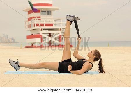 Pilates Exercise On Beach