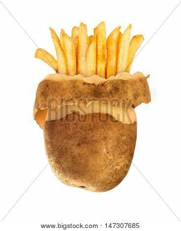 fast food conzept Peeled potato and french fries isolated on white