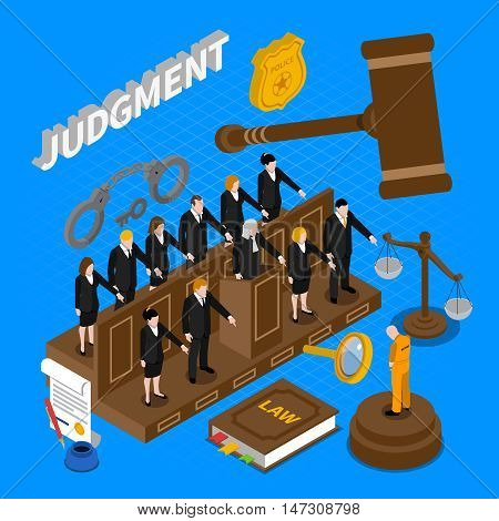 Color isometric composition depicting trial prisoners by jury vector illustration