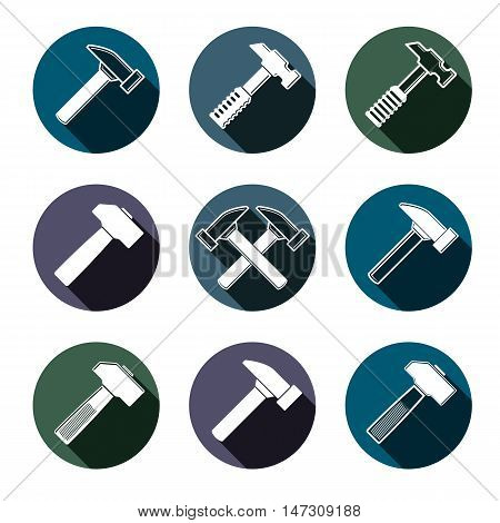 Repair instruments collection 3d tools vector mallets. Construction idea simple objects design elements.