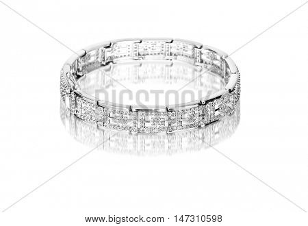 silver bracelet with diamonds on a white background. 3d illustration