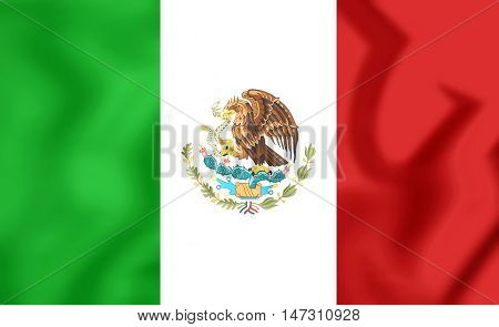 3D Flag of Mexico. 3D Illustration. Close Up.
