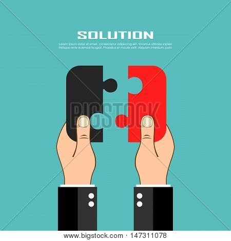 Jigsaw two pieces puzzle vector illustration isolated on blue background