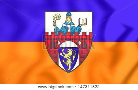 Flag Of Siegen (north Rhine-westphalia), Germany. 3D Illustration.