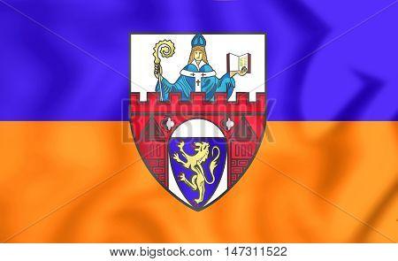 Flag Of Siegen (north Rhine-westphalia), Germany. 3D Illustration.