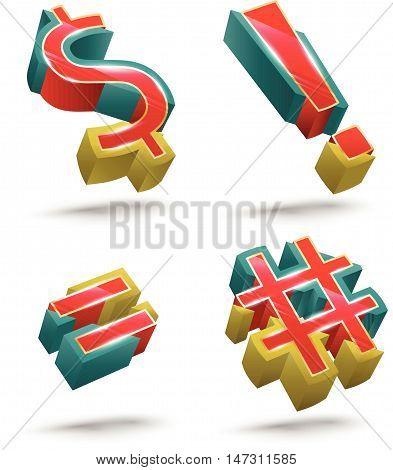 Symbol vector 3D style set. Vector illustration.